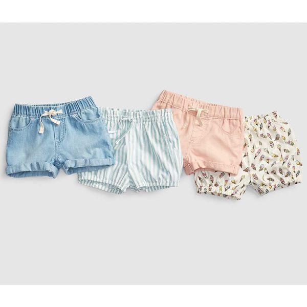 Gap女嬰幼童 淺色水洗鬆緊腰牛仔短褲 424436-淺色水洗