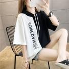 2020新款夏季寬鬆拼接拼色短袖t恤女韓版學生網紅ins潮半袖連 快速出貨