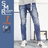 牛仔褲-韓織帶牛仔破褲-街頭潮流首選《004PA63》藍色【現貨+預購】『SMR』