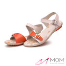 個性釦飾撞色真皮平底涼鞋 橘 *MOM*