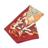 HERMES 愛馬仕 紅色耶誕氛圍圖案克什米爾羊毛混絲質圍巾/披肩 Noel Au 24 Faubourg