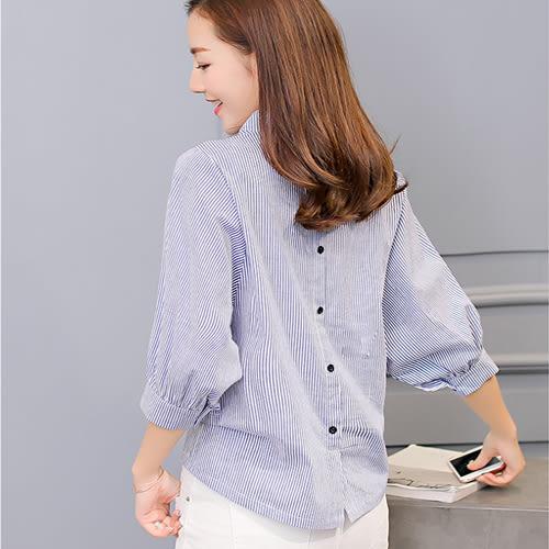 春夏新款女韓版條紋打底衫時尚修身大碼中袖休閒襯衫  0007H  彼得麗絲