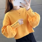 促銷九五折 【含棉】短款保暖衛衣秋冬季新款寬松刺繡韓版高腰學院上衣女