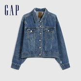 Gap女裝 做舊風格破洞拉鍊牛仔外套 616974-靛藍色