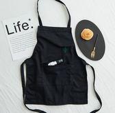 簡約無袖仙人掌刺繡純棉布藝廚房咖啡廳黑色工作圍裙  XH1404『伊人雅舍』