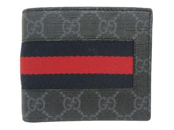 GUCCI 黑色PVC防潑水材質藍紅藍條紋翻蓋式短夾 408826 【BRAND OFF】