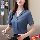 翻領開襟V軋紋上衣+別針(4色)M~2X...
