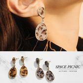 耳環 Space Picnic 預購.豹紋水滴造型耳墜式耳環【C18094009】