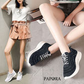 休閒鞋‧透氣布面綁帶休閒鞋【KA80】黑 / 白(偏大)