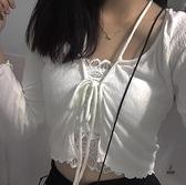 初秋修身顯瘦系帶蝴蝶結甜酷短款長袖小外套【愛物及屋】