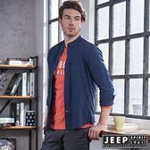 【JEEP】時尚洗舊風亨利領長袖襯衫 藍  (合身版)