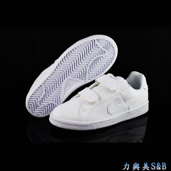 NIKE 童休閒運動鞋 2片式魔鬼氈設計 鞋底止滑性佳 全白 學生鞋 【7516】
