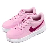 Nike 休閒鞋 Force 1 18 TD 粉紅 白 Air Force 免綁鞋帶 童鞋 小童鞋【PUMP306】 905220-605