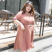 大碼女裝胖mm夏裝200斤顯瘦胖妹妹收腰綁帶洋裝 樂芙美鞋