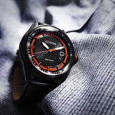 CITIZEN 星辰表 / AE1184-13E / 光動能 日期 礦石強化玻璃 日本機芯 防水100米 真皮手錶 橘黑色 42mm