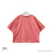 【INI】注目率性、立體特殊剪裁文青感上衣.梅紅色