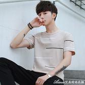 T恤 夏季男士短袖t恤 圓領條紋男生潮流新款寬鬆t桖純棉夏裝衣服 艾美時尚衣櫥