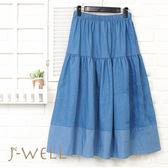 J-WELL 剪接配色牛仔裙(2色) 8J1567