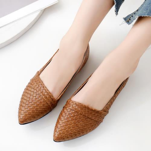 【現貨快速出貨】平底鞋.品牌自訂款.MIT好搭編織格紋尖頭平底包鞋.白鳥麗子