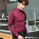 酒紅色襯衫男士韓版潮流帥氣純色休閒長袖襯衣潮男裝修身寸衫春季