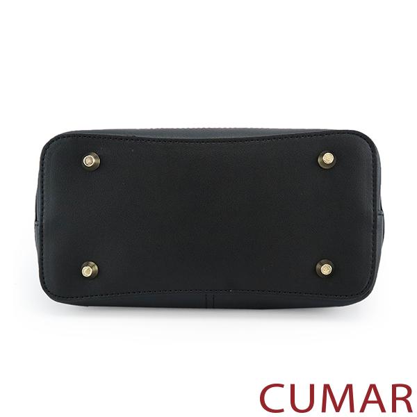 CUMAR 經典不敗素面手提斜背包-黑色