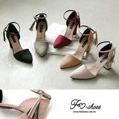 跟鞋.細絨流蘇踝釦尖頭高跟包鞋-FM時尚美鞋-JJ.Tale