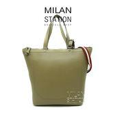 【台中米蘭站】BALLY 綠 牛皮 紅白 兩用包