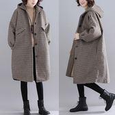 加厚格子毛呢外套女 冬新款文藝寬鬆大尺碼保暖中長款斗篷型呢子大衣 週年慶降價