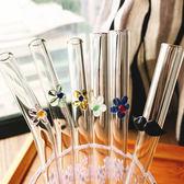 彩色藝術花朵玻璃吸管奶茶果汁2件【洛麗的雜貨鋪】
