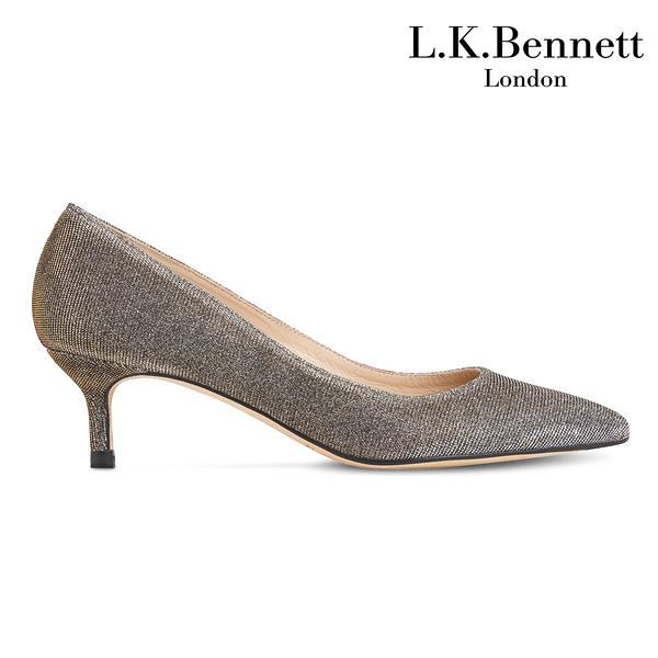【L.K. BENNETT】凱特王妃御用 必搭鞋類 AUDREY經典真皮低跟鞋-銀 (原廠公司貨)