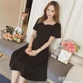連身裙 五季家大碼女裝胖妹妹mm心機洋裝女夏顯瘦減齡黑色裙子洋氣長裙