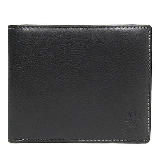 【南紡購物中心】agnes b.皮革蜥蜴印紋兩折短夾(含零錢袋)(黑)