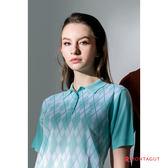 夢特嬌短袖POLO衫 女藝人穿搭款 亮絲系列女款時尚菱紋-薄荷綠