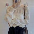 蕾絲打底衫半高領白色蕾絲打底衫女秋冬長袖新款內搭雪紡蕾絲衫洋氣上衣百搭 快速出貨