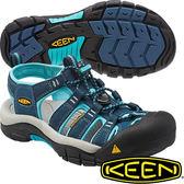 KEEN 1014199_深藍/粉藍 NewPort H2 女戶外護趾涼鞋/水陸兩用鞋