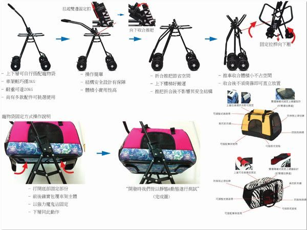 WILL設計+寵物用品*WILL 首創 單/雙層 可拆式 寵物推車 任您自行設計搭配(包包另購)