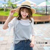 東京著衣-多色假兩件式傘袖雪紡上衣-S.M(170593)
