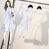 短袖洋裝 大碼洋裝胖mm大碼女裝顯瘦減齡設計感收腰襯衫連身裙9397 4F082 胖妞身櫥