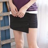 褲裙--獨特剪裁韓版不對稱設計斜釦壓摺設計褲裙(黑.綠S-6L)-R127眼圈熊中大尺碼