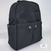 後背包防潑水面料休閒旅遊雙口袋後背包-黑(台灣防潑水面料-樹紋)03507BK
