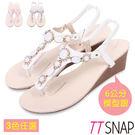 楔型涼鞋-TTSNAP粉嫩寶石花型夾腳坡...