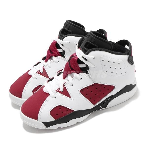 Nike Air Jordan 6 Retro PS Carmine 白 紅 童鞋 中童鞋 胭脂紅 AJ6 喬丹 6代【ACS】 384666-106