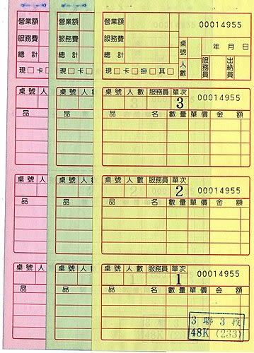 公版餐廳專用 中式三聯三段單(菜單) 48K (台北版) 100本/箱(50組) 直式 8.8*19cm