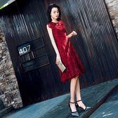 宴會晚禮服女2019新款夏季修身短款洋裝小禮服紅色顯瘦新娘敬酒服