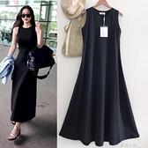 外貿原單 打底裙女黑色修身顯瘦無袖洋裝純棉彈力大擺及踝長裙 蘇菲小店