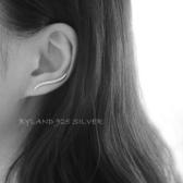 耳環 Byland s925純銀耳釘 歐美極簡波浪耳鉤百搭耳飾品防過敏男女情侶 城市科技