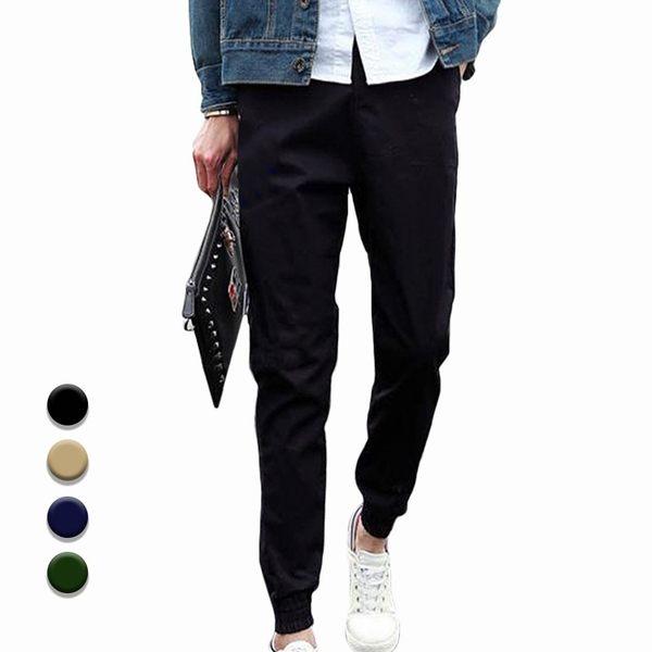 日韓修身縮口超彈力鬆緊綁帶工作運動休閒束口褲 限《P30059》