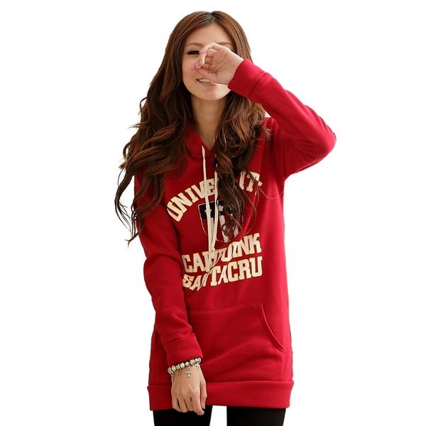 質感刷毛上衣--秋冬多變休閒打扮-美式徽章連帽厚刷毛長版T(紅.紫.藍M-2L)-A61眼圈熊中大尺碼★