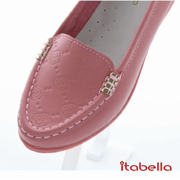 itabella.壓紋花牛皮包鞋(粉色)