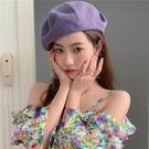 夏天薄款貝雷帽女透氣大頭圍日系蓓蕾帽韓版百搭帽子女畫家帽紫色 喵小姐